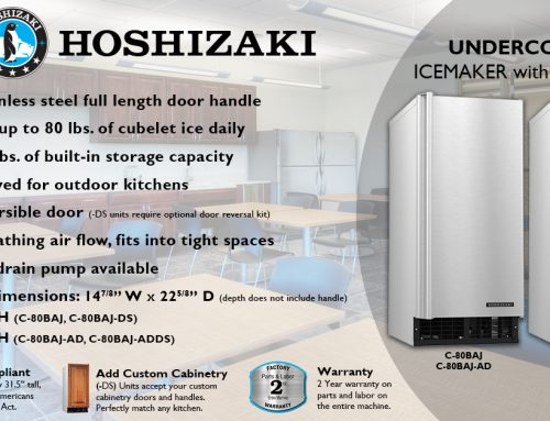 HOSHIZAKI Transitions the C-101BAH to the C-80BAJ Series Undercounter Icemaker