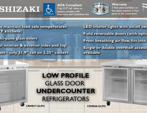 "HOSHIZAKI Announces 27"" & 48"" Glass Door Low Profile Undercounter Refrigerators with LED Lights and Locks"